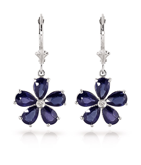 Sapphire and Diamond Flower Petal Drop Earrings 4.4ctw in 9ct White Gold