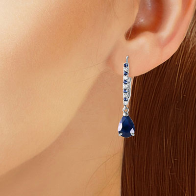 Sapphire and Diamond Laced Stem Drop Earrings 3.2ctw in 9ct White Gold