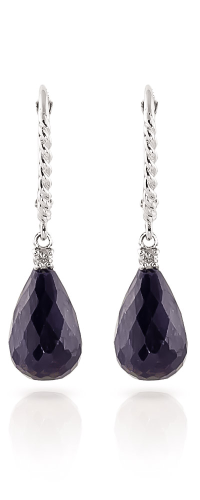 Sapphire and Diamond Stem Drop Earrings 17.6ctw in 9ct White Gold