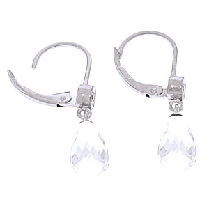 White Topaz and Diamond Illusion Drop Earrings 4.5ctw in 9ct White Gold