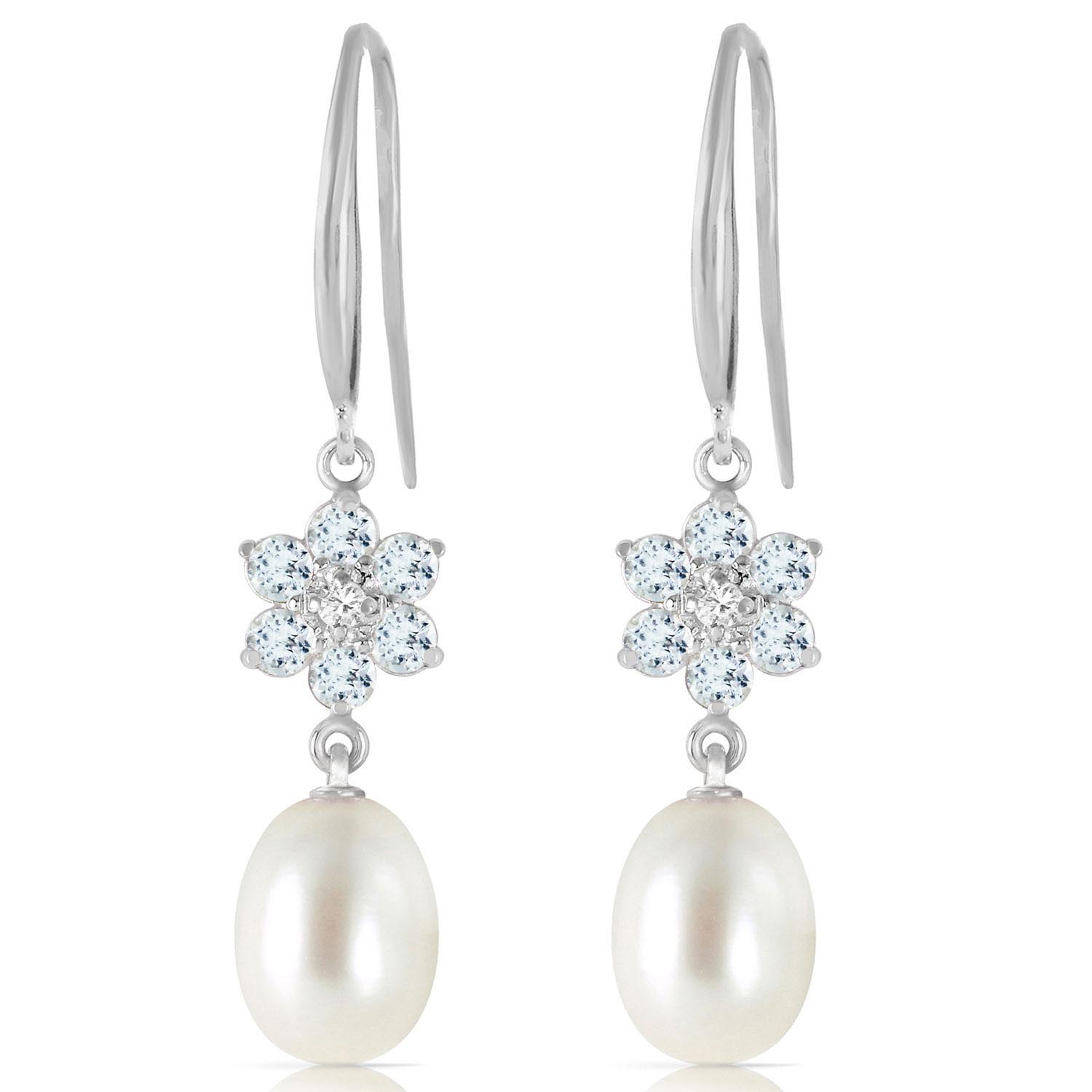 Pearl, Diamond and Aquamarine Daisy Chain Drop Earrings 8.95ctw in 9ct White Gold