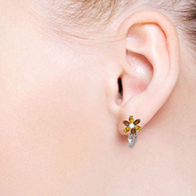 Garnet, Diamond and Citrine Flower Petal Stud Earrings 1.0ctw in 9ct White Gold