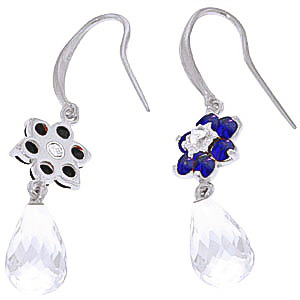 White Topaz, Diamond and Sapphire Daisy Chain Drop Earrings 5.45ctw in 9ct White Gold