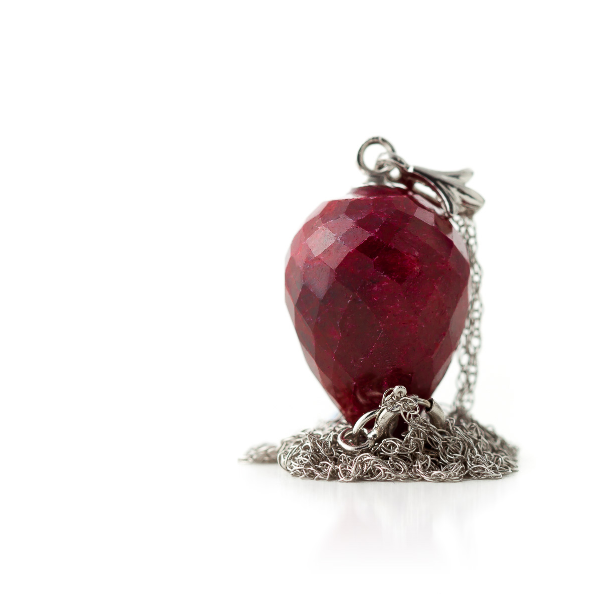 Ruby Briolette Pendant Necklace 13.0ct in 9ct White Gold