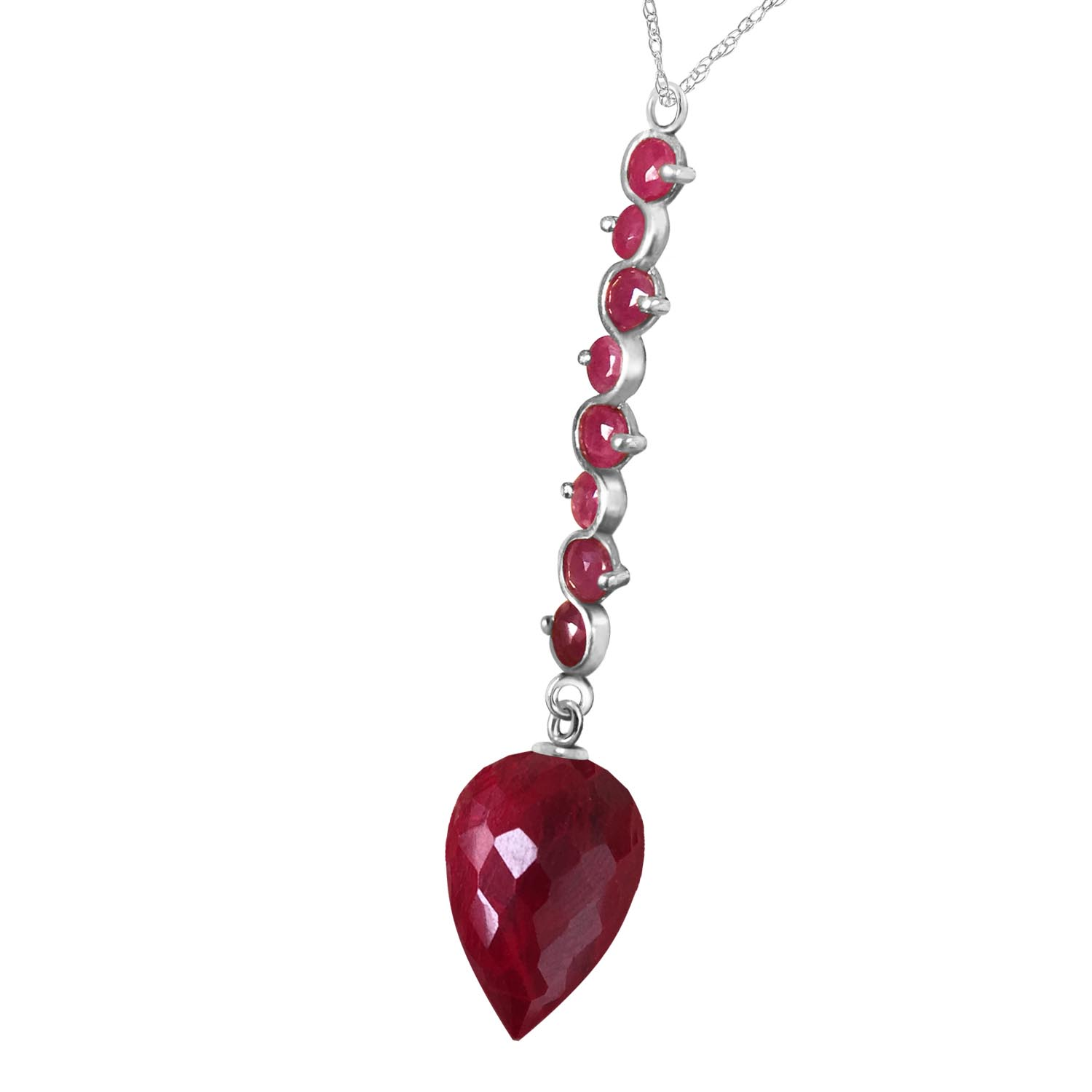 Ruby Briolette Pendant Necklace 14.55ctw in 9ct White Gold