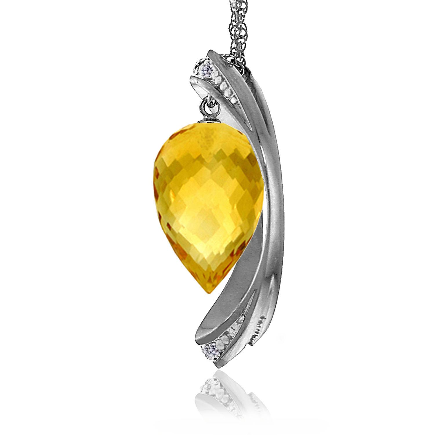 Citrine and Diamond Pendant Necklace 9.5ct in 9ct White Gold