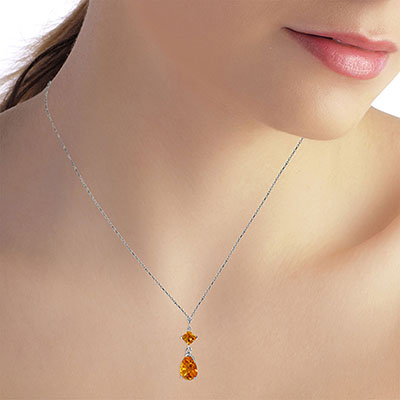 Citrine Droplet Pendant Necklace 2.0ctw in 9ct White Gold