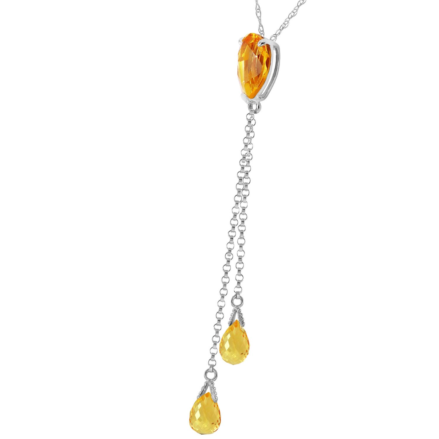 Citrine Droplet Pendant Necklace 3.75ctw in 9ct White Gold