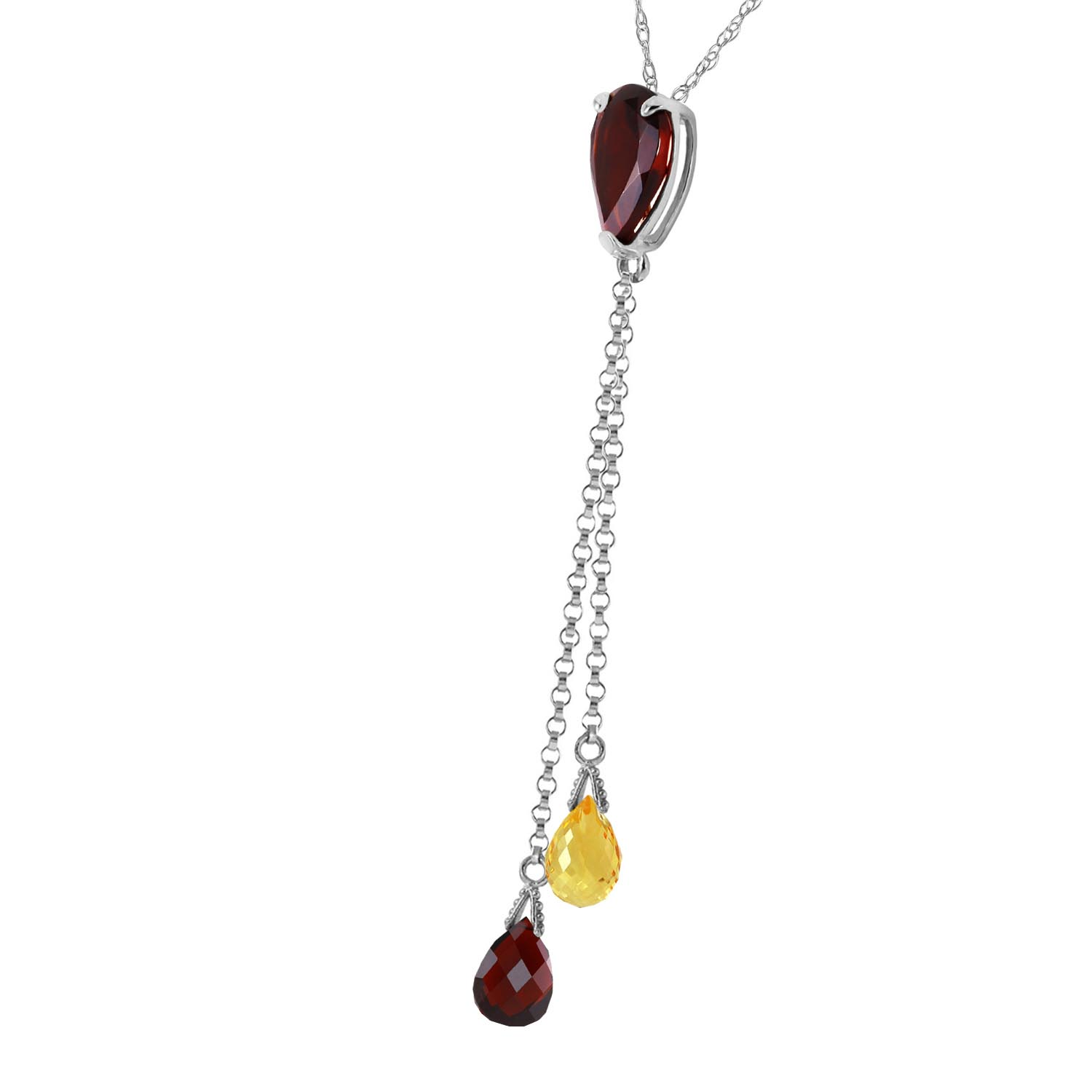 Garnet and Citrine Droplet Pendant Necklace 3.75ctw in 9ct White Gold