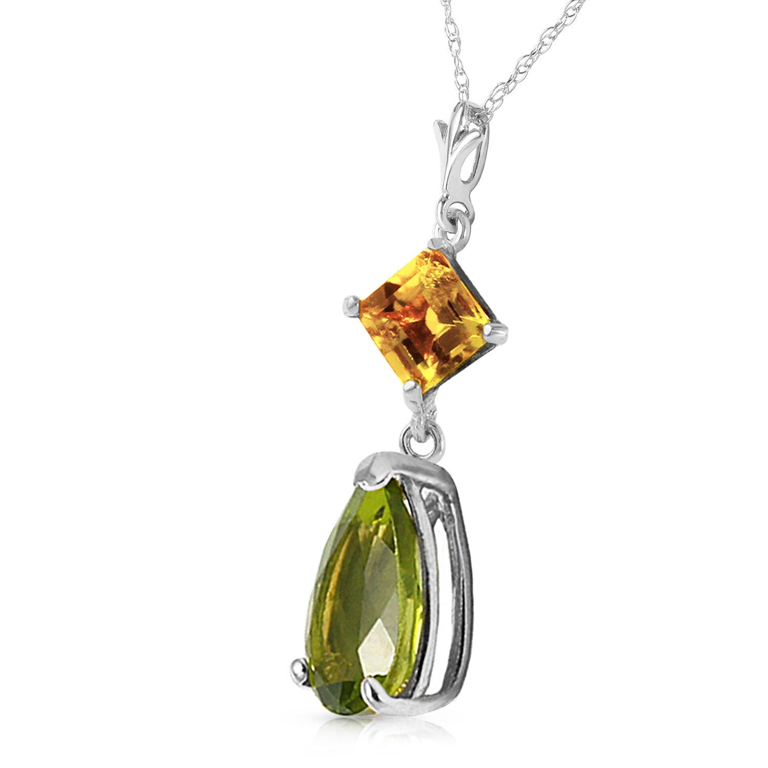 Peridot and Citrine Droplet Pendant Necklace 2.0ctw in 9ct White Gold