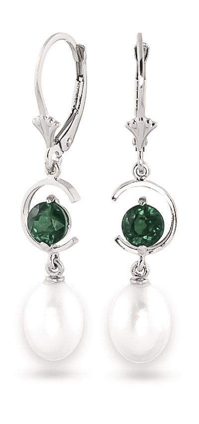 Pearl and Emerald Drop Earrings 9.0ctw in 9ct White Gold