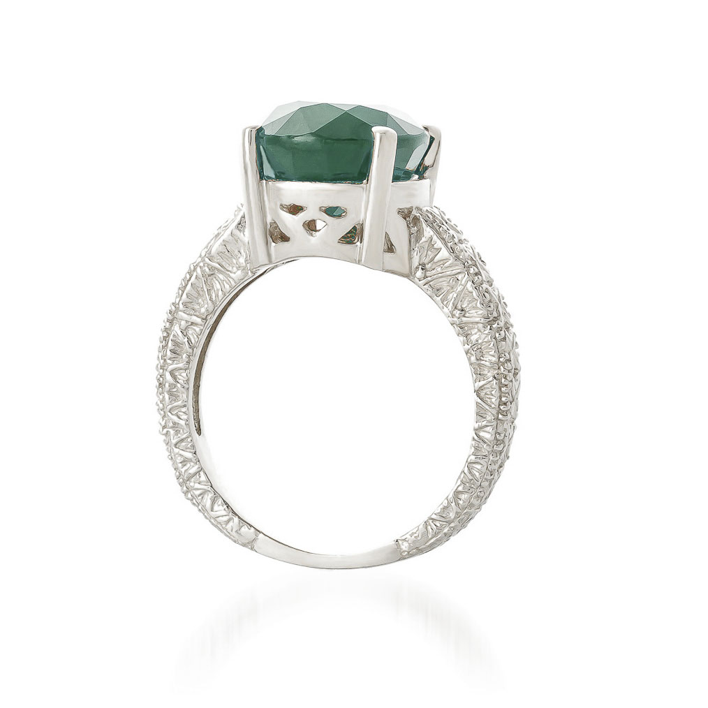 Oval Cut Emerald Ring in 9ct White Gold