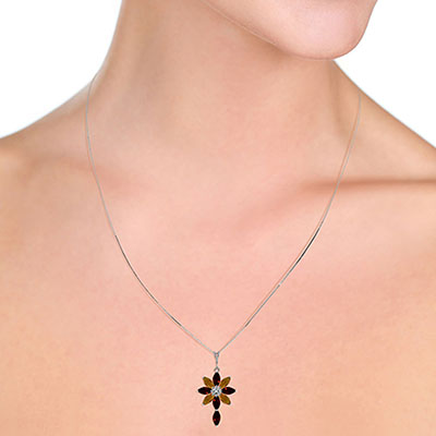 Garnet, Diamond and Citrine Flower Cross Pendant Necklace 1.98ctw in 9ct White Gold