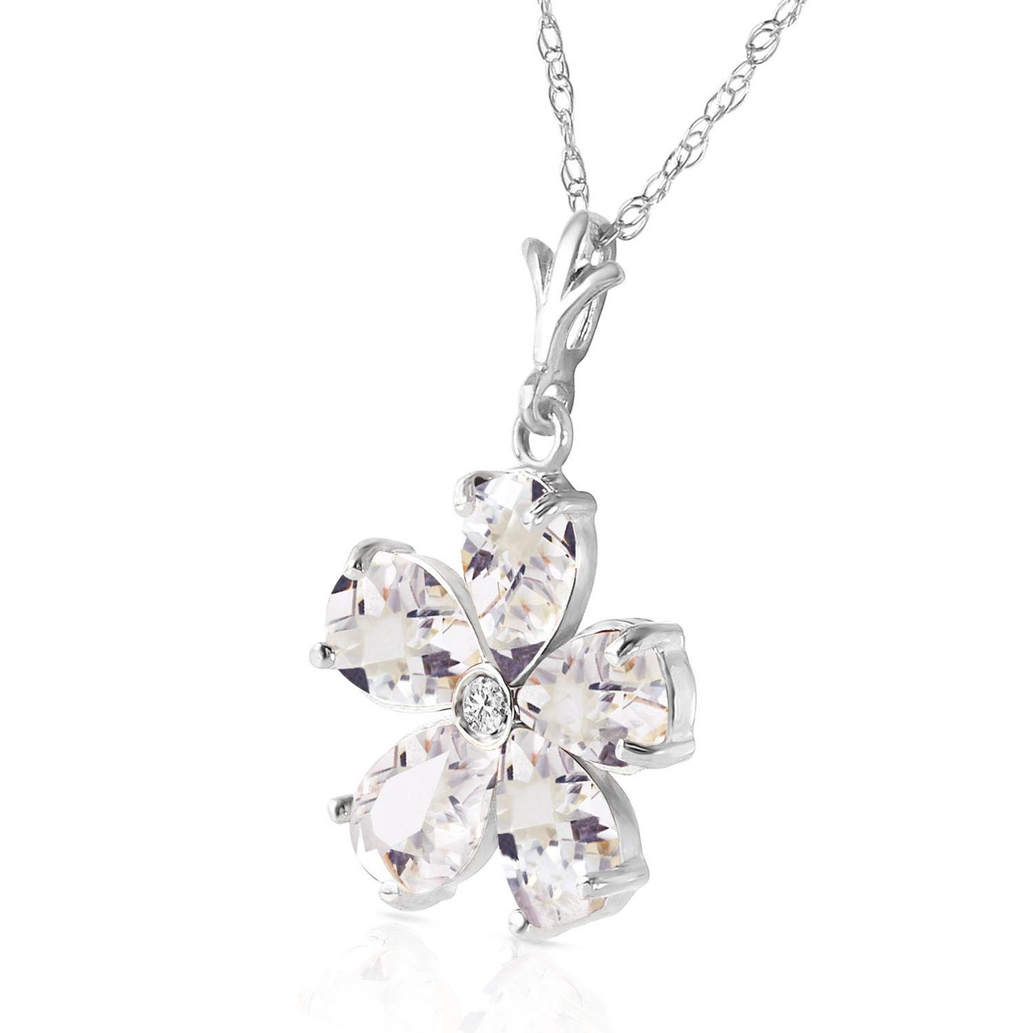 White Topaz and Diamond Flower Petal Pendant Necklace 2.2ctw in 9ct White Gold