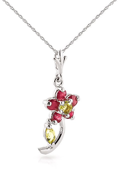 Ruby and Peridot Flower Petal Pendant Necklace 0.87ctw in 9ct White Gold