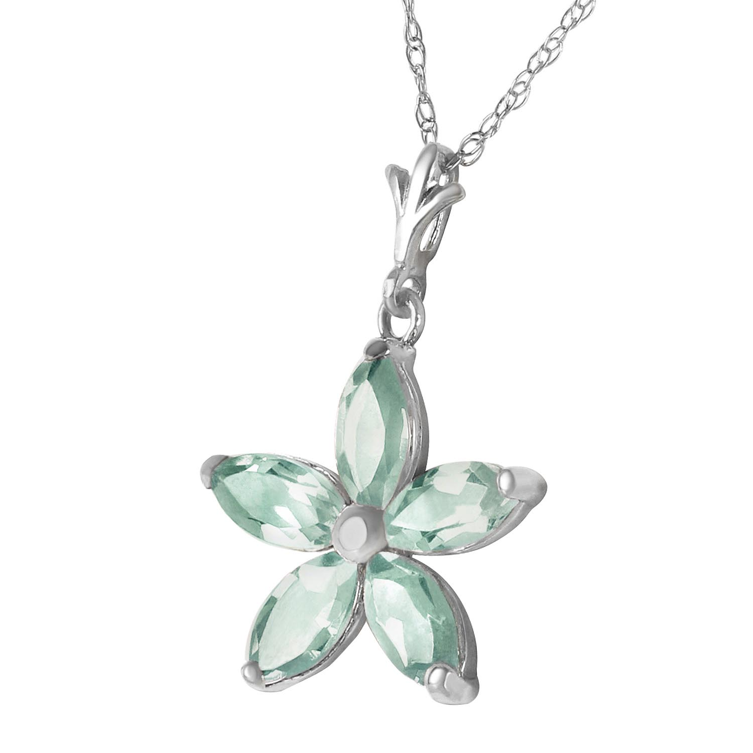 Green Amethyst Flower Star Pendant Necklace 1.4ctw in 9ct White Gold