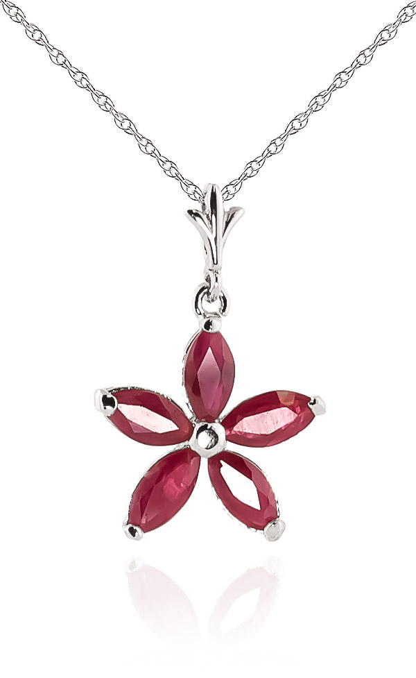 Ruby Flower Star Pendant Necklace 1.4ctw in 9ct White Gold