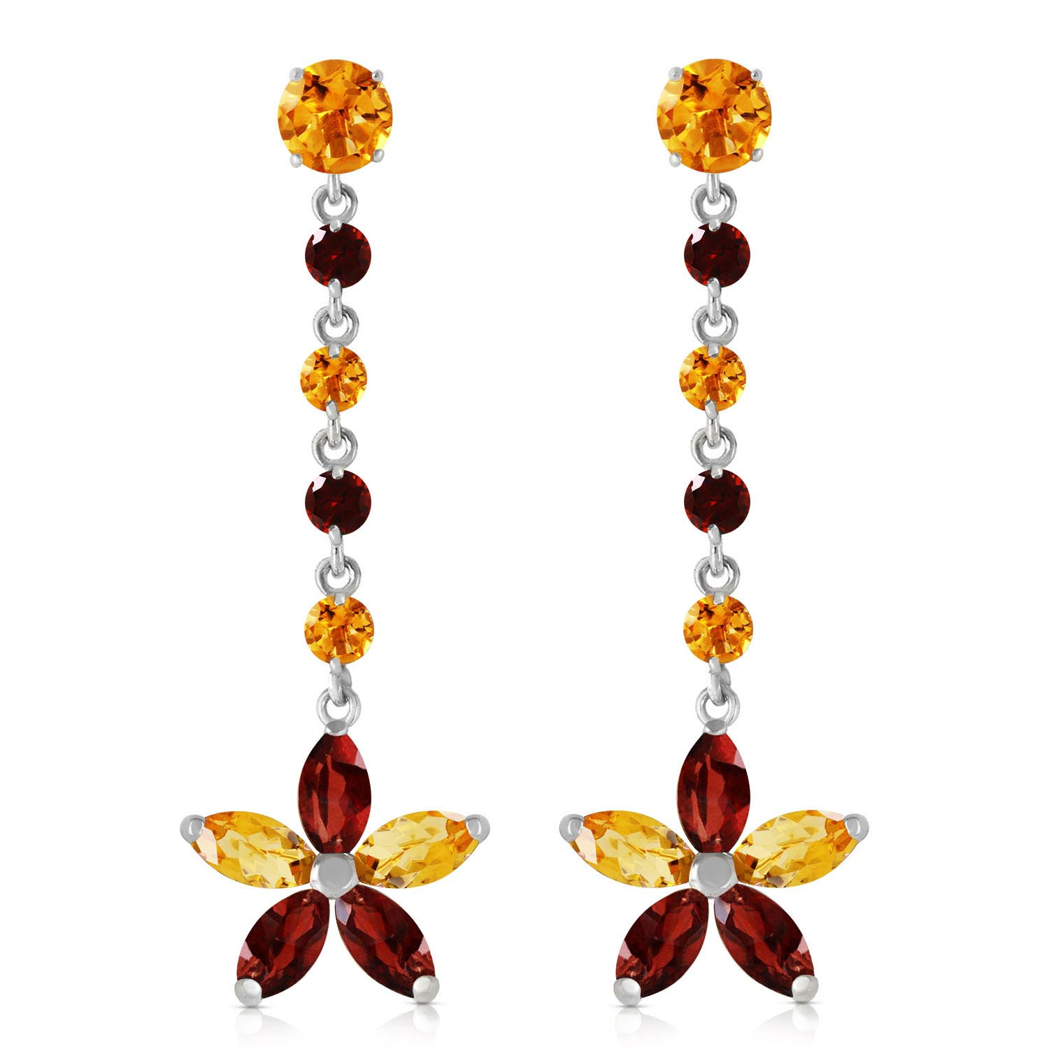 Citrine and Garnet Daisy Chain Drop Earrings 4.8ctw in 9ct White Gold