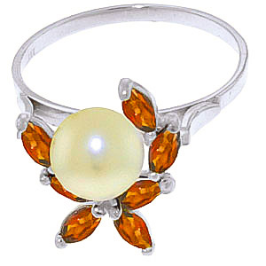 Pearl and Garnet Ivy Ring 2.65ctw in 9ct White Gold