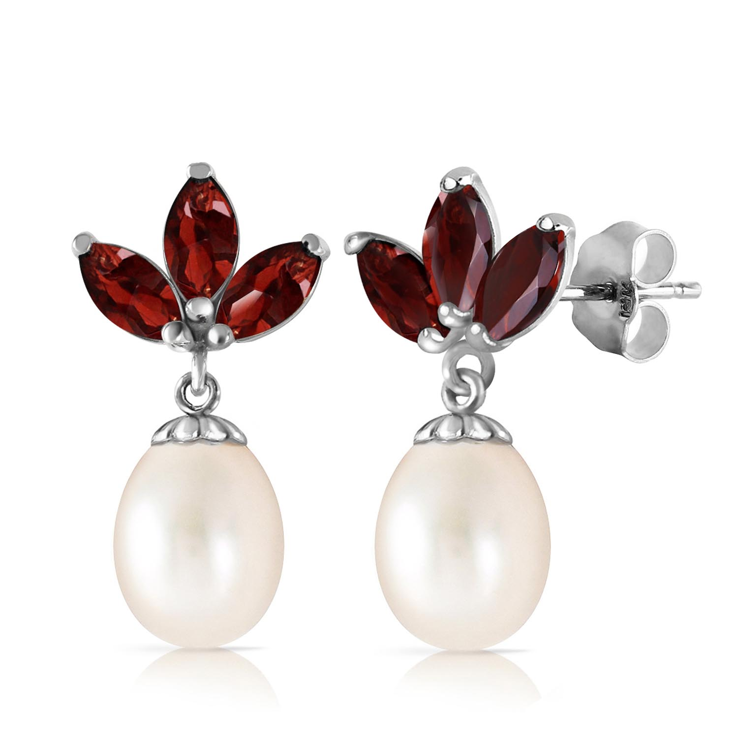 Pearl and Garnet Petal Drop Earrings 9.5ctw in 9ct White Gold