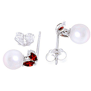 Pearl and Garnet Snowdrop Stud Earrings 4.4ctw in 9ct White Gold