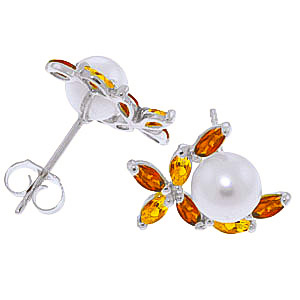 Pearl, Garnet and Citrine Ivy Stud Earrings 3.25ctw in 9ct White Gold