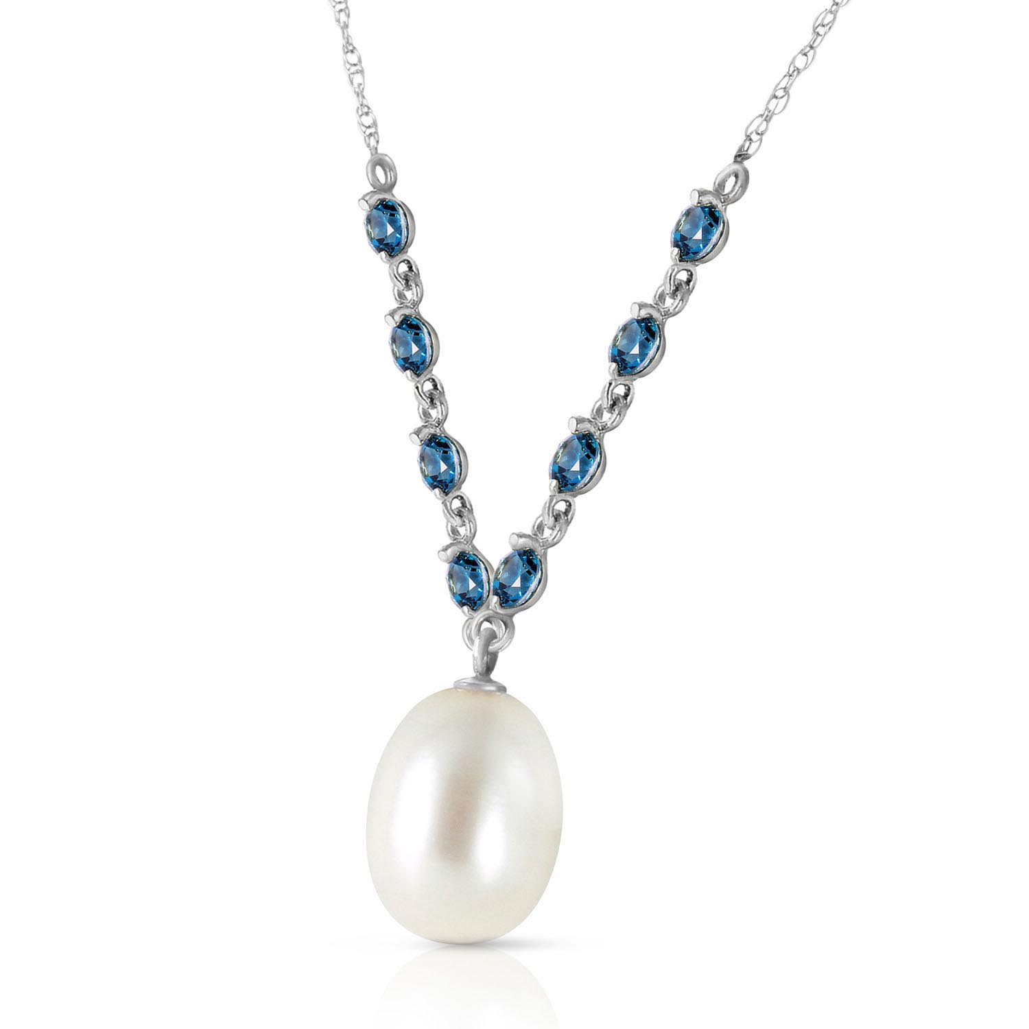 Pearl and Blue Topaz by the Yard Pendant Necklace 5.0ctw in 9ct White Gold