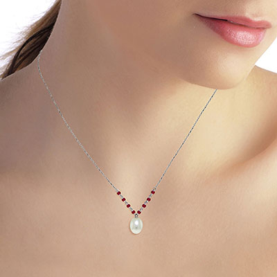 Pearl and Ruby by the Yard Pendant Necklace 5.0ctw in 9ct White Gold