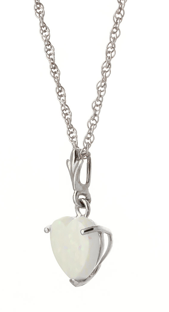 Opal Heart Pendant Necklace 0.65ct in 9ct White Gold