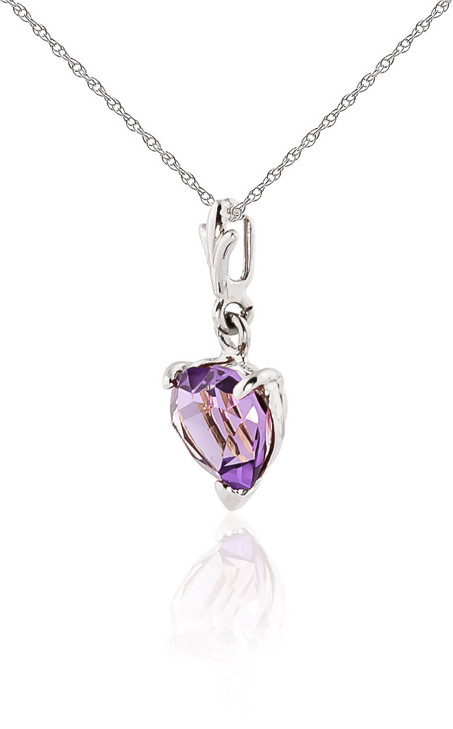 amethyst heart pendant necklace 115ct in 9ct white gold