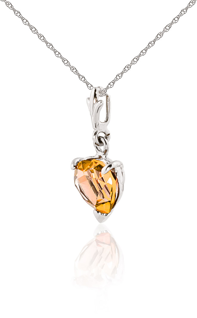 Citrine Heart Pendant Necklace 1.15ct in 9ct White Gold