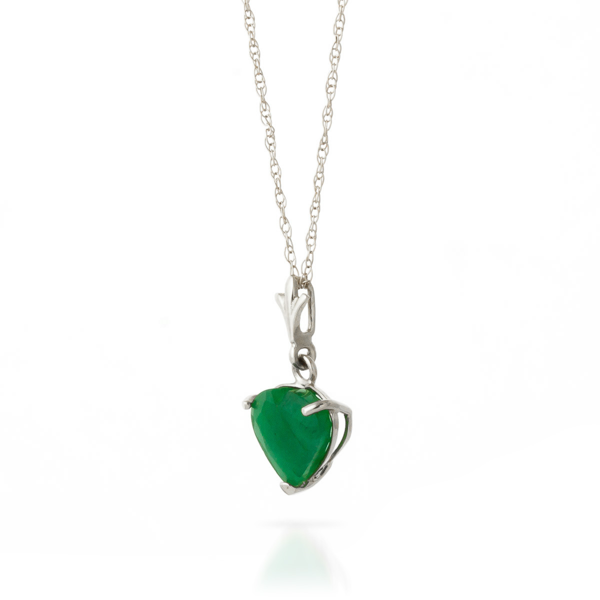 Emerald Heart Pendant Necklace 1.2ct in 9ct White Gold
