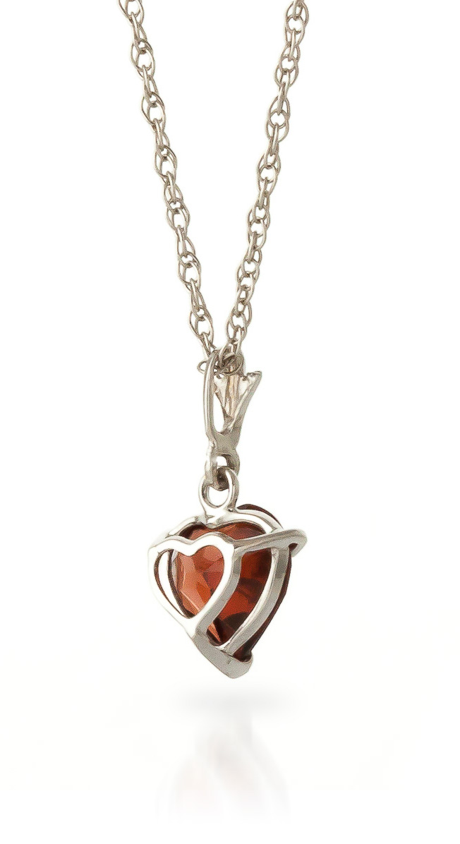 Garnet heart pendant necklace 15ct in 9ct white gold 1801w qp garnet heart pendant necklace 15ct in 9ct white gold mozeypictures Images