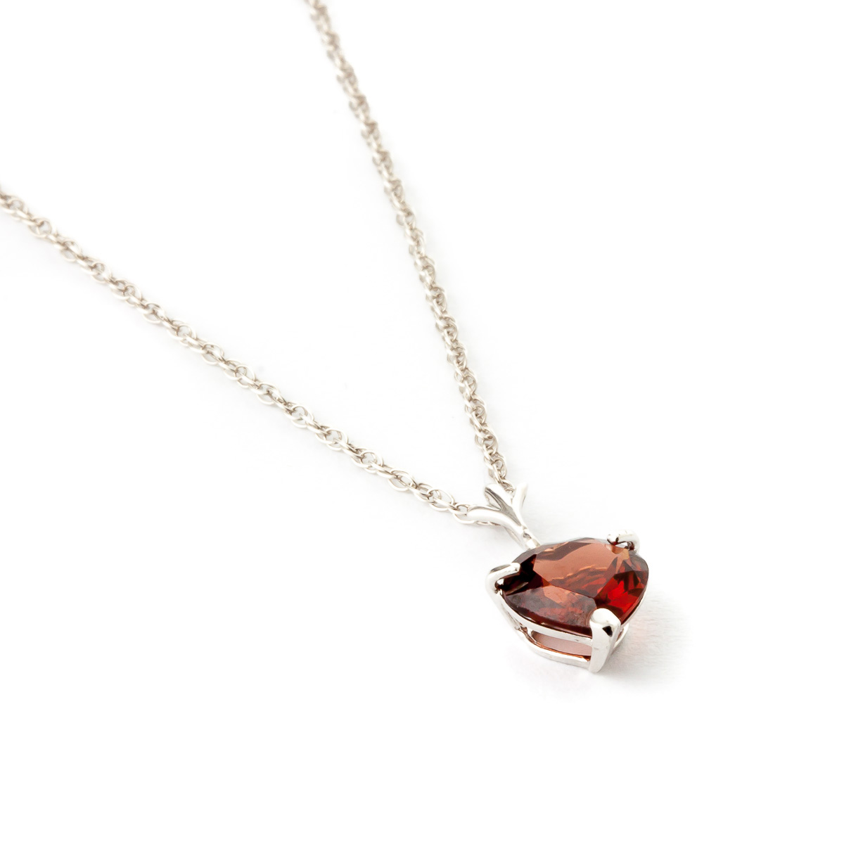 Garnet Heart Pendant Necklace 1.5ct in 9ct White Gold