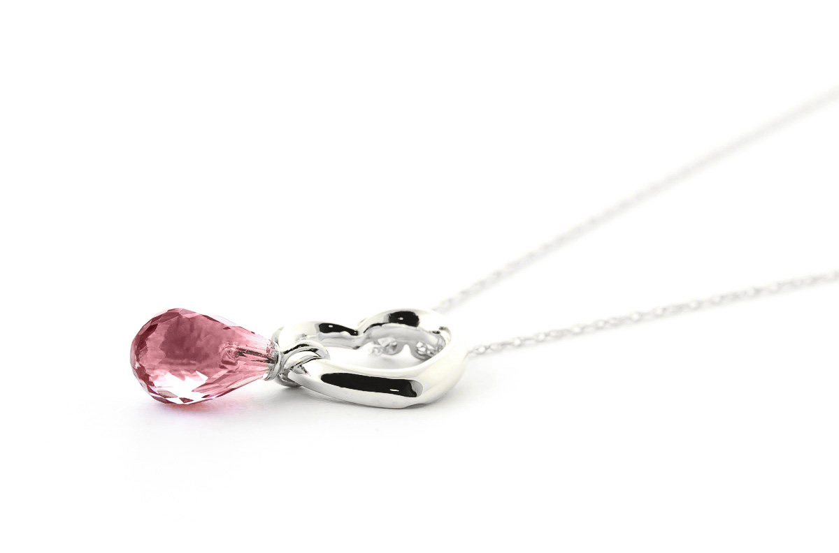 Pear Cut Garnet Pendant Necklace 2.25ct in 9ct White Gold