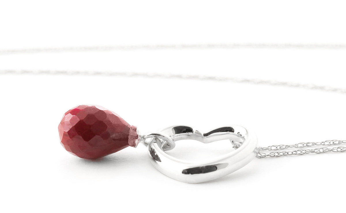 Pear Cut Ruby Pendant Necklace 3.3ct in 9ct White Gold