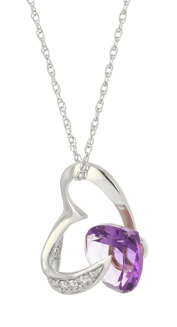 Amethyst and Diamond Pendant Necklace 3.1ct in 9ct White Gold