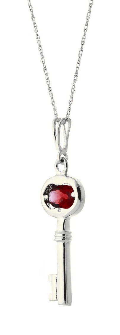 Garnet Key Charm Pendant Necklace 0.5ct in 9ct White Gold