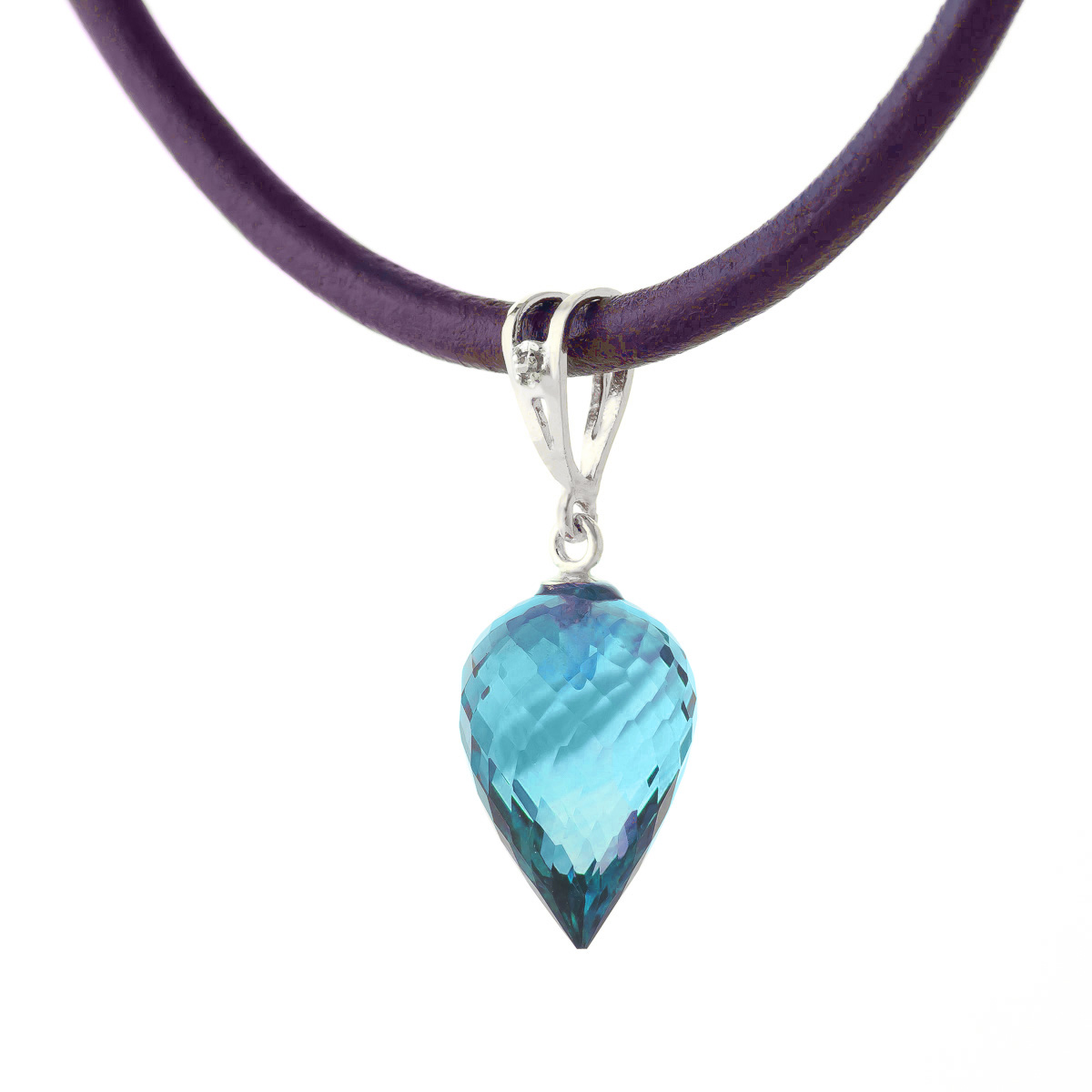 Blue Topaz and Diamond Leather Pendant Necklace 11.25ct in 9ct White Gold