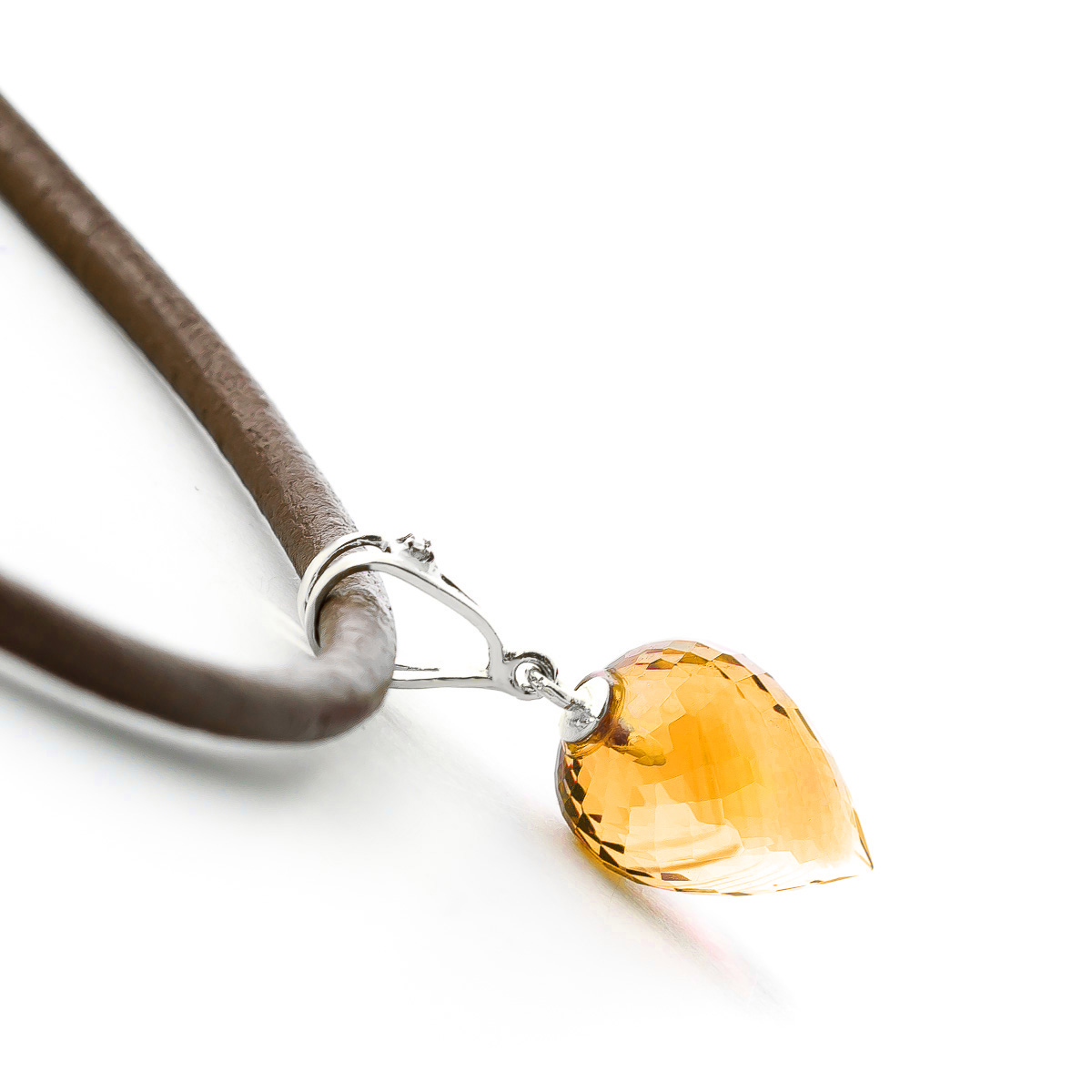 Citrine and Diamond Leather Pendant Necklace 9.5ct in 9ct White Gold