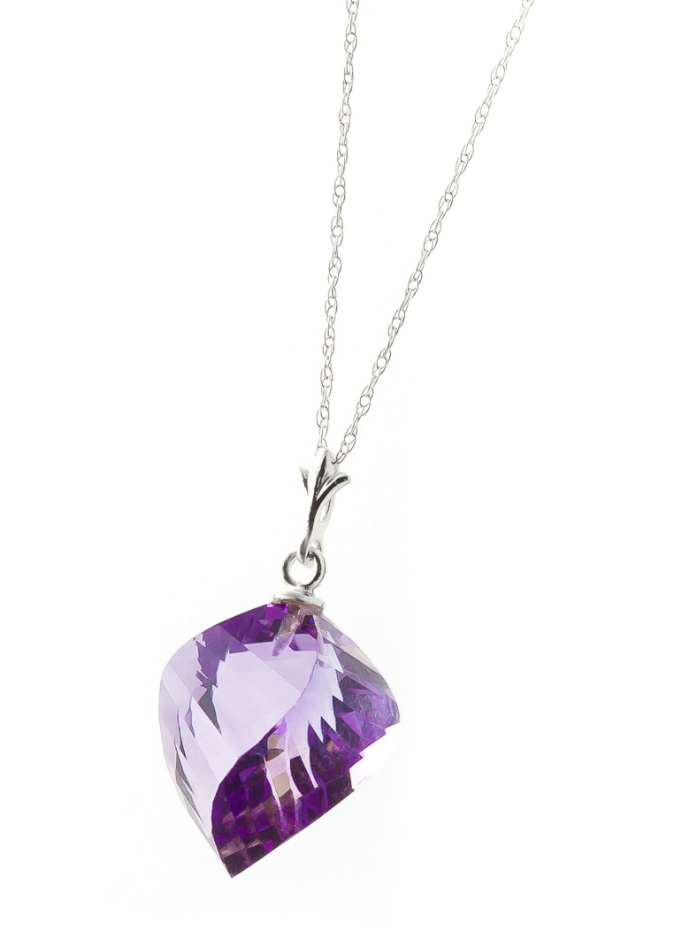 Amethyst Briolette Pendant Necklace 10.75ct in 9ct White Gold