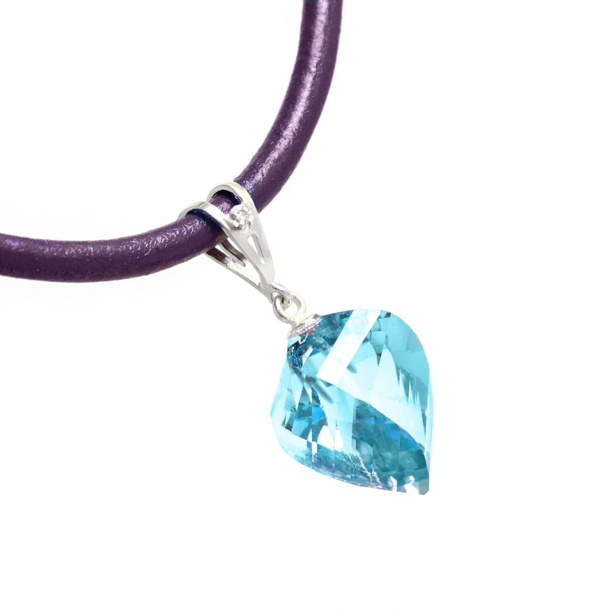 Blue Topaz and Diamond Pendant Necklace 13.9ct in 9ct White Gold