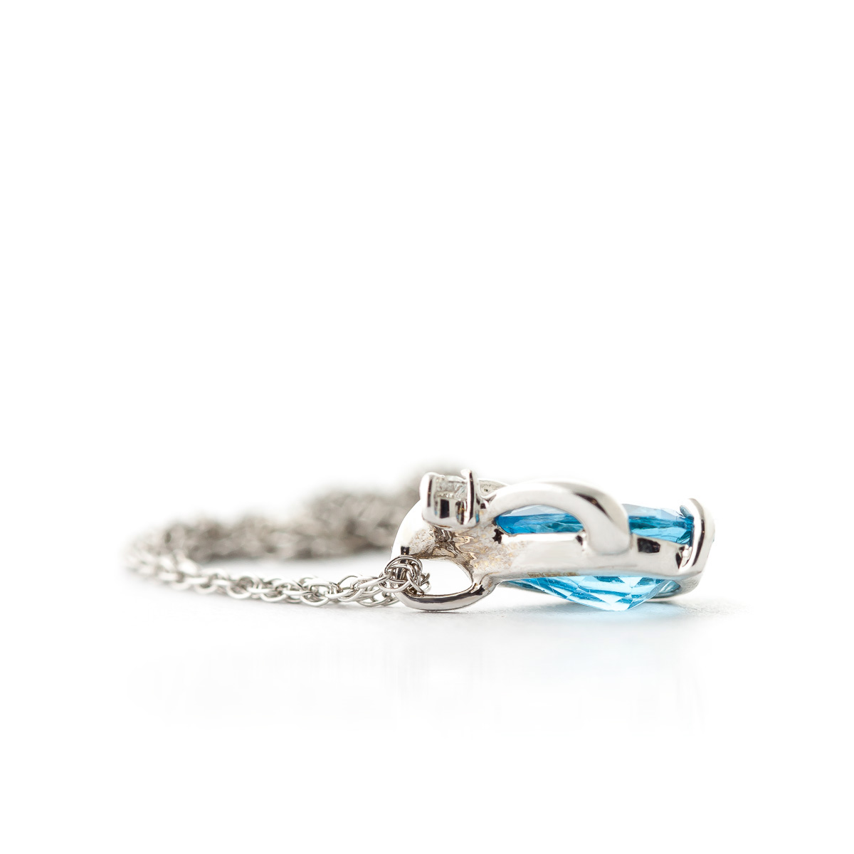 Blue Topaz and Diamond Pendant Necklace 2.5ct in 9ct White Gold