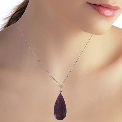 Pear Cut Ruby Pendant Necklace 20.0ctw in 9ct White Gold