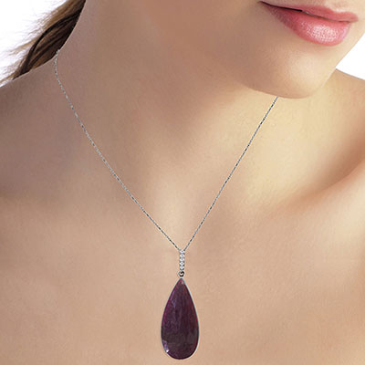 Ruby and Diamond Pendant Necklace 20.0ct in 9ct White Gold