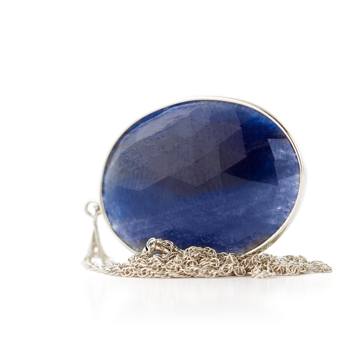 Oval Cut Sapphire Pendant Necklace 20.0ctw in 9ct White Gold