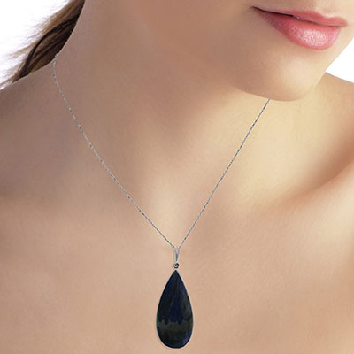 Pear Cut Sapphire Pendant Necklace 21.0ctw in 9ct White Gold