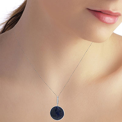 Sapphire and Diamond Pendant Necklace 23.0ct in 9ct White Gold
