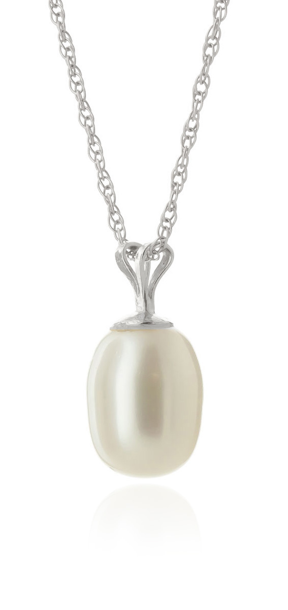 Pear Cut Pearl Pendant Necklace 4.0ct in 9ct White Gold