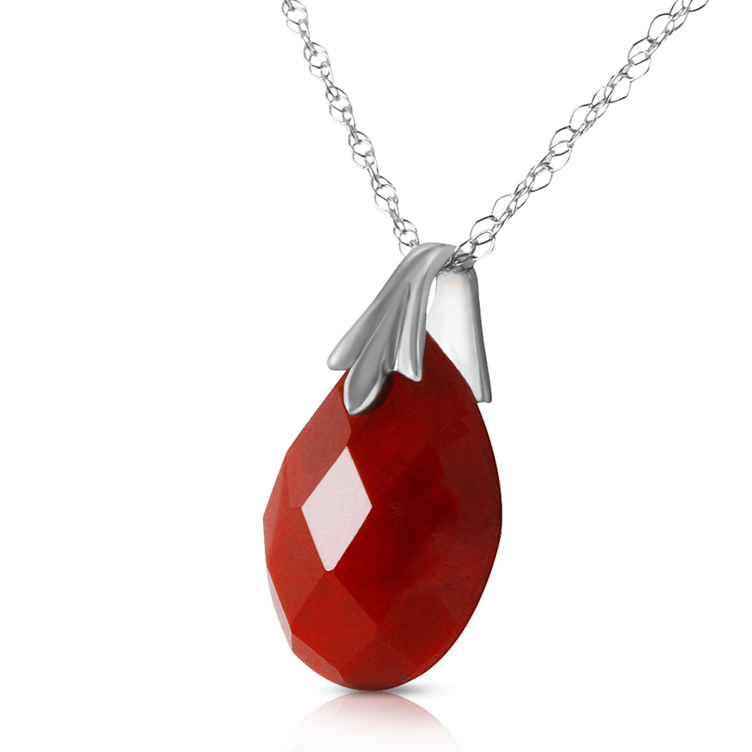 Ruby Briolette Pendant Necklace 4.0ct in 9ct White Gold